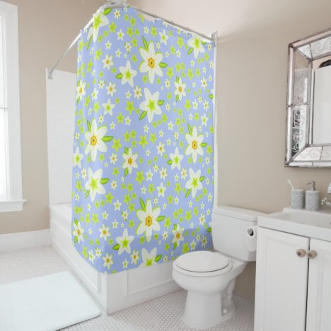 Pretty Modern Spring Daffodil Floral Pattern Shower Curtain