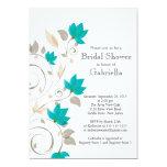 Pretty Modern Turquoise Floral Vine Bridal Shower 5x7 Paper Invitation Card