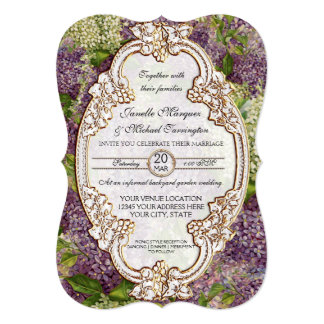 Pretty Modern Vintage Bridal Shower Lilac Floral Card