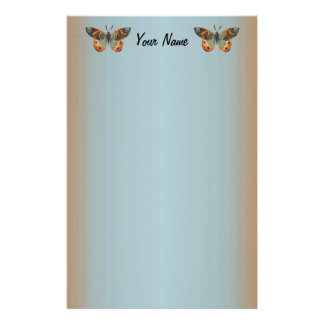 Pretty Monarch Butterfly Abstract Border Stationery