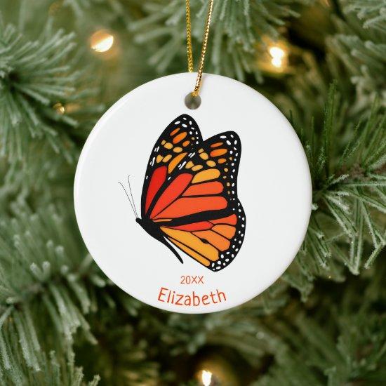 pretty Monarch butterfly commemorative year Ceramic Ornament