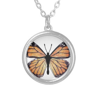 Pretty Monarch Butterfly Round Pendant Necklace
