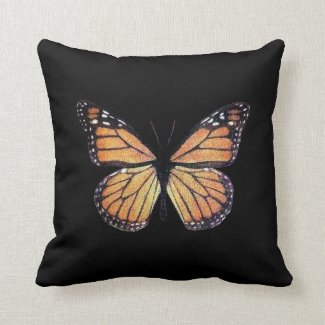 Pretty Monarch Butterfly on Black Throw Pillow