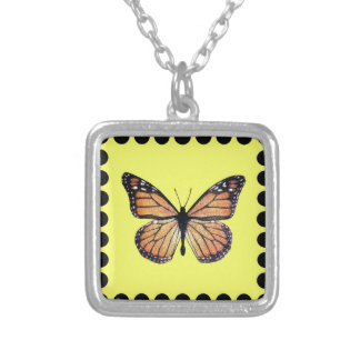 Pretty Monarch Butterfly on Gold Square Pendant Necklace
