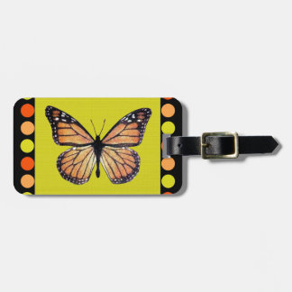 Pretty Monarch Butterfly on Gold with Polka Dots Bag Tag