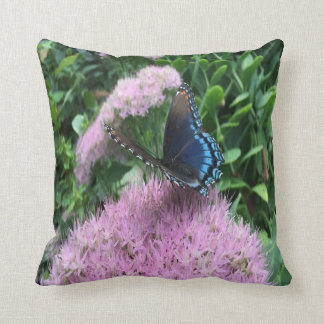 Pretty Monarch Butterfly On Pink Flowers Throw Pillow