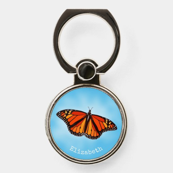 Pretty Monarch Butterfly on sky blue or ANY color Phone Ring Stand