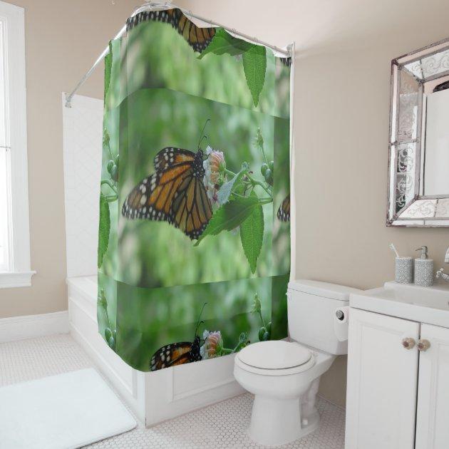 Pretty Monarch Butterfly Pink Flower Shower Shower Curtain Zazzle Com