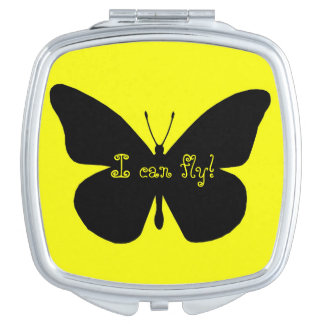 Pretty Monarch Butterfly Silhouette on Yellow Vanity Mirrors