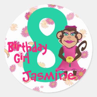 Pretty Monkey Birthday Age Stickers