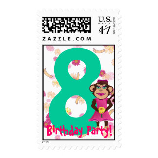 Pretty Monkey Birthday Party Stamps