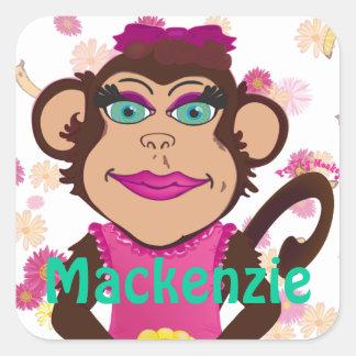 Pretty Monkey Name Tag Stickers