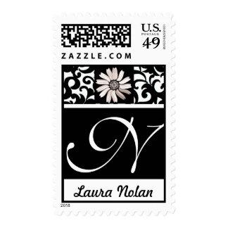Pretty Monogram Letter N Stamp