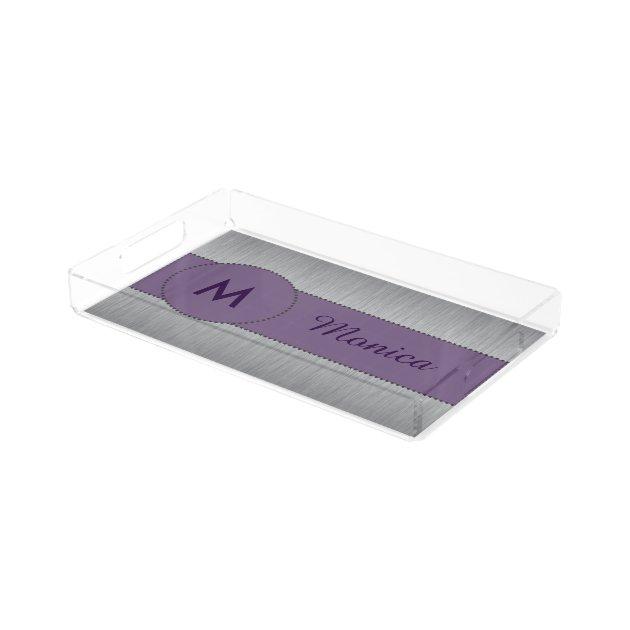 Pretty Monogram Purple & Silver Vanity Tray | Zazzle