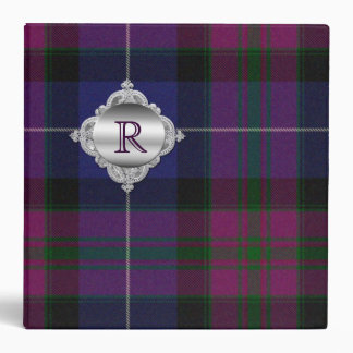 Pretty Monogram Purple Tartan Plaid Binder