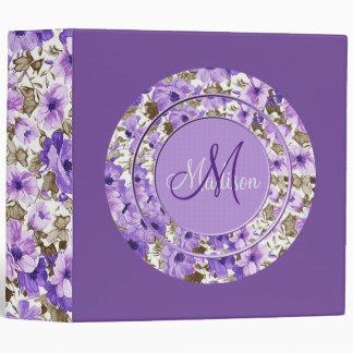 Pretty Monogram Purple & White Floral Binder 3