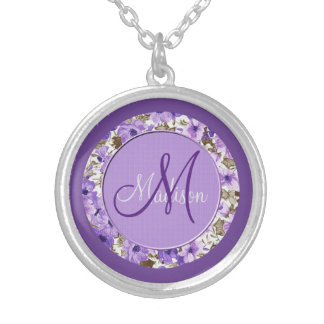 Pretty Monogram Purple & White Floral Necklace 2