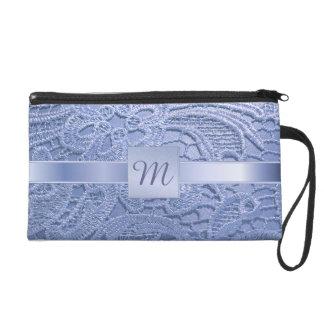 Pretty monogrammed blue vintage lace wristlet