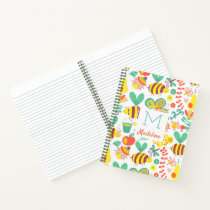 Pretty Monogrammed Bug Flower Garden Pattern Notebook