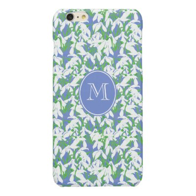 Pretty Monogrammed Snowdrop Pattern on Blue Glossy iPhone 6 Plus Case
