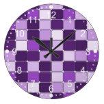 Pretty Mosaic Tile Pattern Purple Lilac Lavender Large Clock