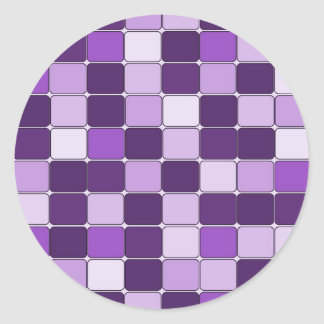 Pretty Mosaic Tile Pattern Purple Lilac Lavender Classic Round Sticker