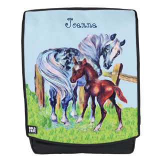 Pretty Mother Baby Horses by Fence in Grass Field Backpack