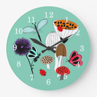 Pretty Mother Nature Country Illustration Large Clock
