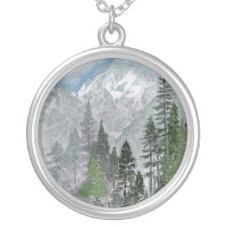 Pretty Mountain Scene Silver Necklace