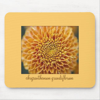 Pretty mouse pad with golden chrysanthemum