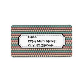 Pretty Multi Colored Heart Striped Pattern Address Label