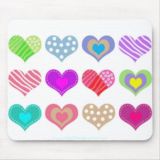 Pretty Multi Colored Hearts Mouse Pad