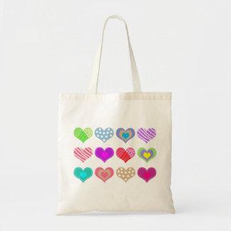 Pretty Multi Colored Hearts Tote Bag