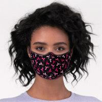 Pretty Multi Pink Breast Cancer Ribbon Pattern Premium Face Mask