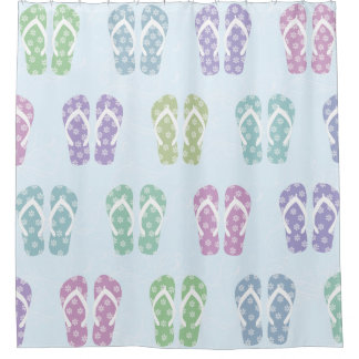Pretty Multicolor Flip Flop Summer Shower Curtain  Flip Flop Shower Curtain