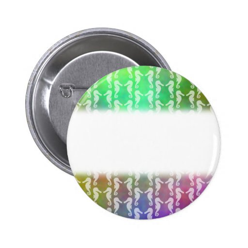 Pretty Multicolor Seahorse Pattern Design Pinback Buttons