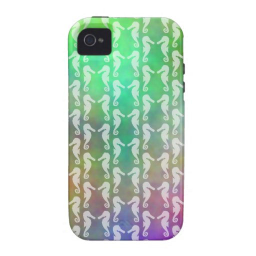 Pretty Multicolor Seahorse Pattern Design iPhone 4/4S Covers