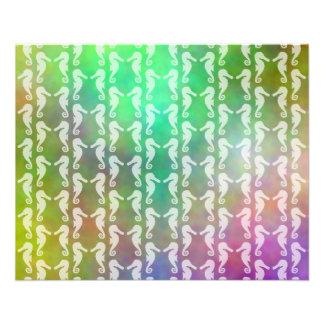 Pretty Multicolor Seahorse Pattern Design Flyer