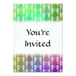 Pretty Multicolor Seahorse Pattern Design 5x7 Paper Invitation Card