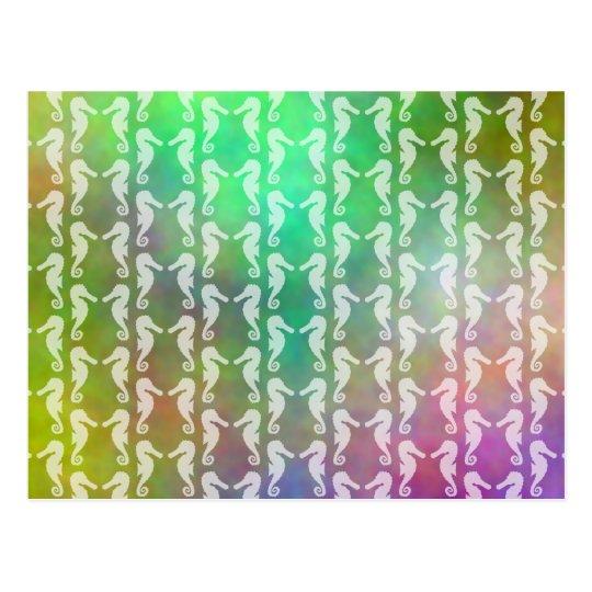 Pretty Multicolor Seahorse Pattern Design Postcard