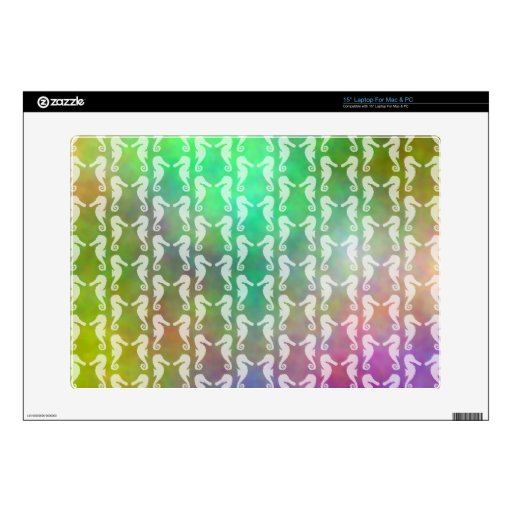 "Pretty Multicolor Seahorse Pattern Design Decal For 15"" Laptop"