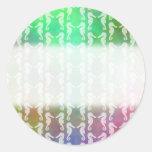 Pretty Multicolor Seahorse Pattern Design Classic Round Sticker