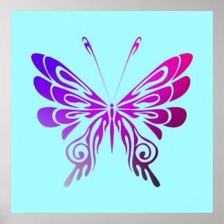 Pretty Multicolored Decorative Butterfly Poster