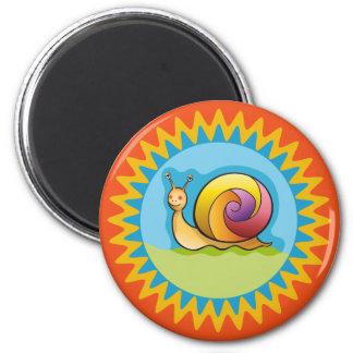 Pretty multicoloured snail 2 inch round magnet