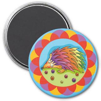 Pretty multicoloured sprocket wheel 3 inch round magnet