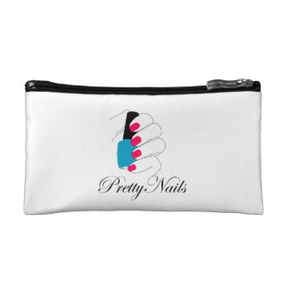 Pretty nails with a nail polish cosmetic bag