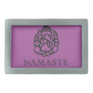 Pretty Namaste Ganesh design Purple Rectangular Belt Buckle