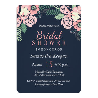Pretty Navy and Pink Bridal Shower Invitations