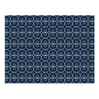 Pretty Navy Blue and Silver Pattern Design Gifts Postcard