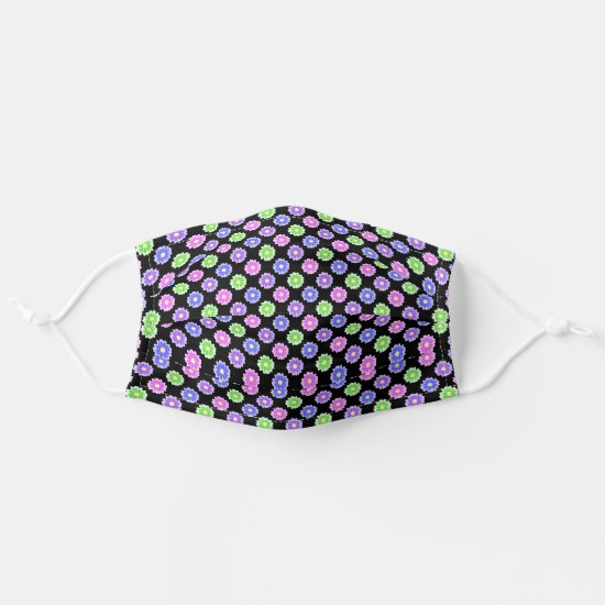 Pretty Neon Flower Pattern in Green Purple Black Cloth Face Mask